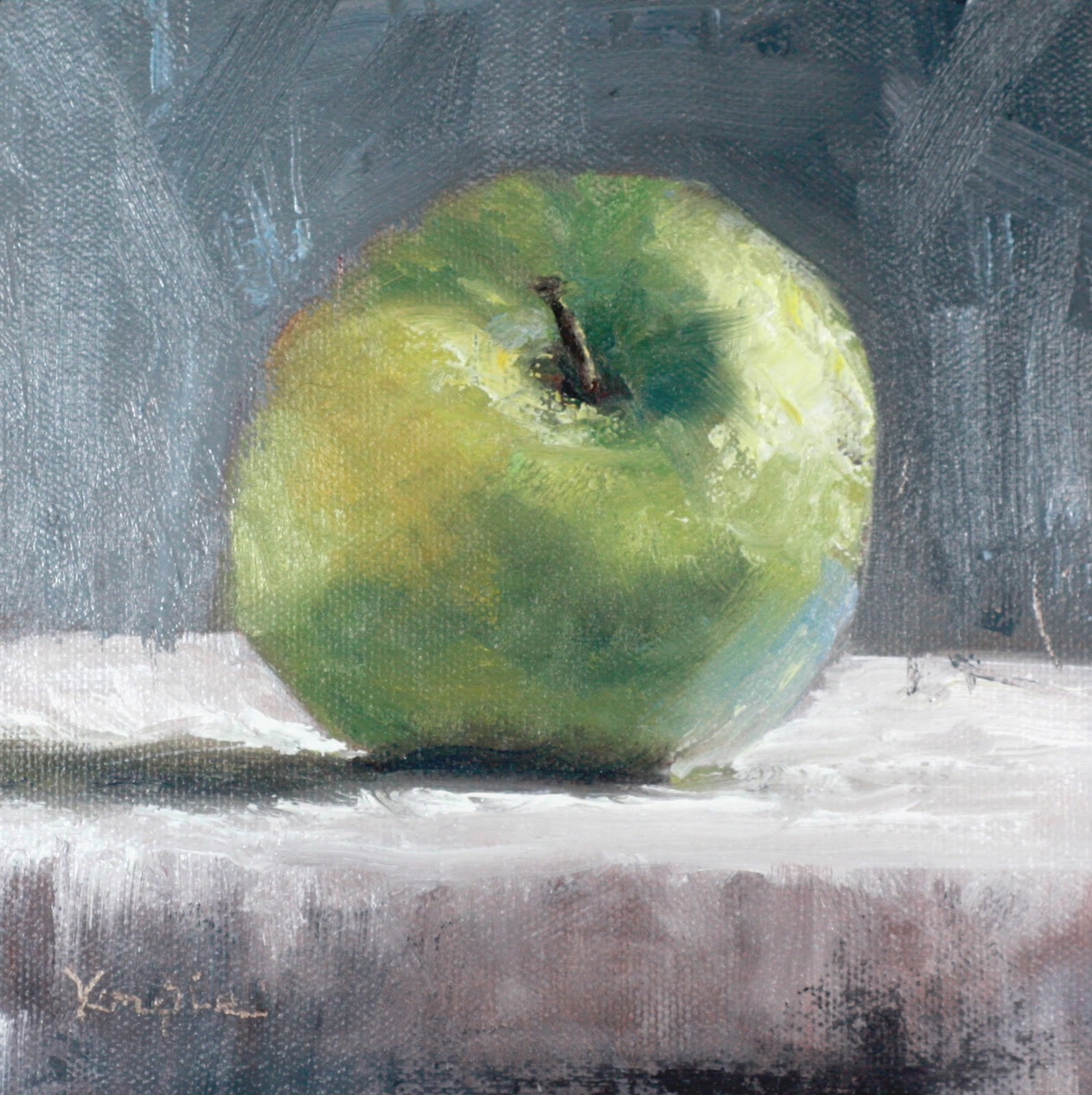 """Still Life with Granny Smith"" original fine art by Carrie Venezia"
