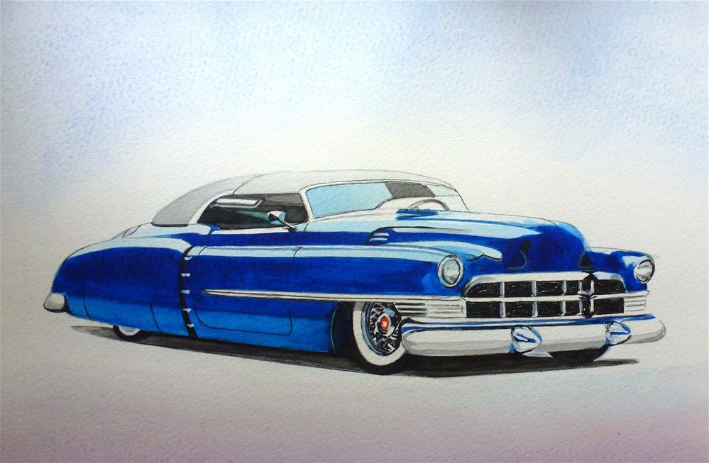 """Cadillac Roadster Convertible 1950"" original fine art by John Monney"