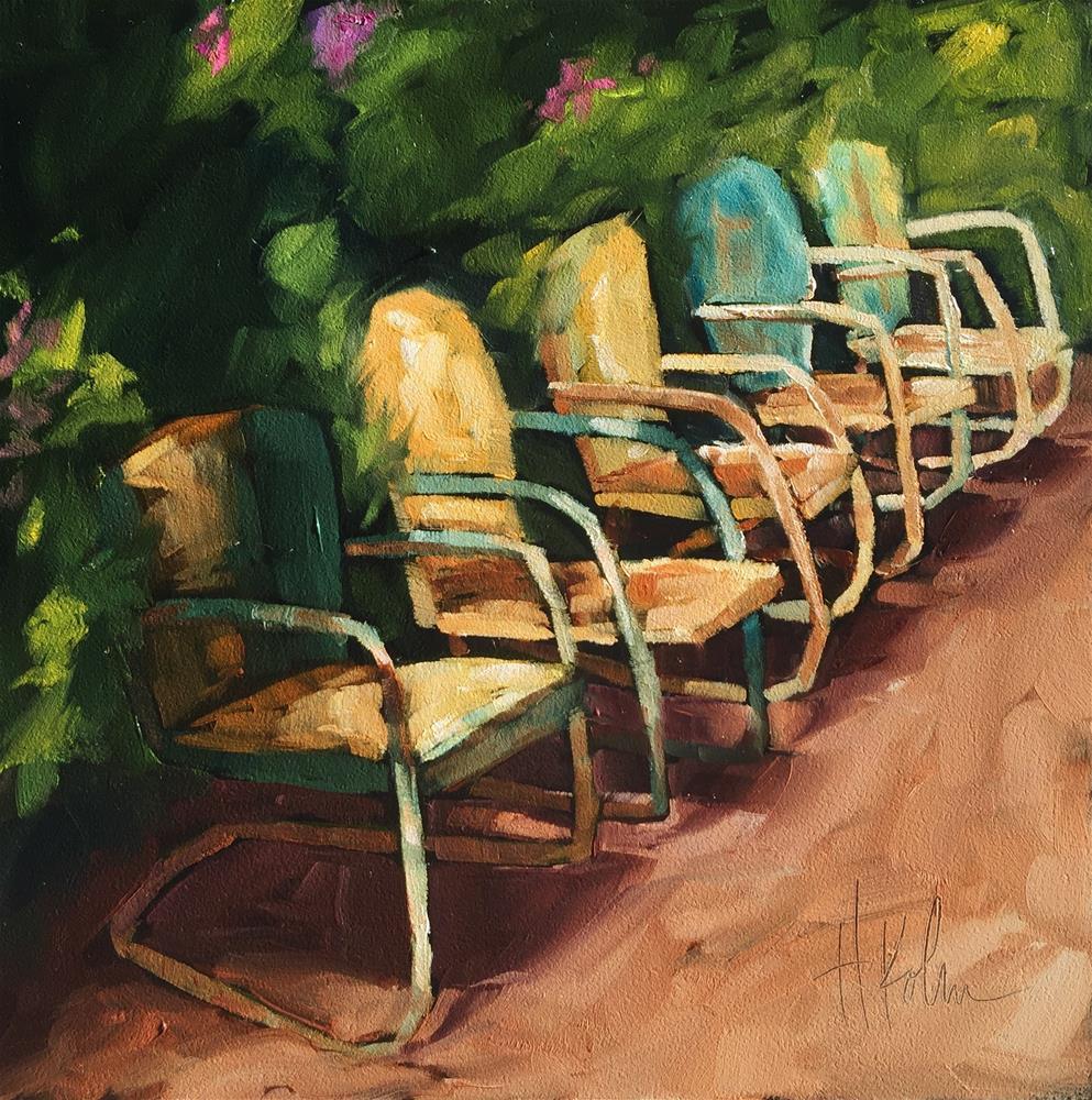 """""""Garden Chairs"""" original fine art by Hallie Kohn"""