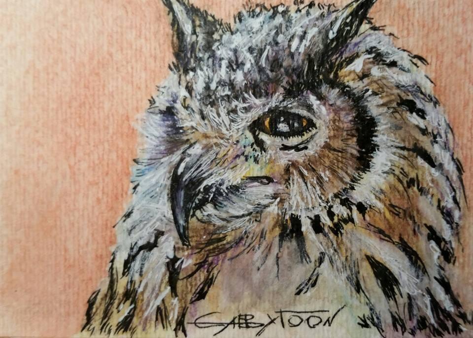 """Owl (ACEO)"" original fine art by Gabriella DeLamater"