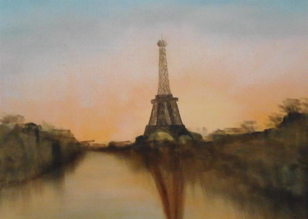 """Reflection of Eiffel"" original fine art by Sue Lorenz"