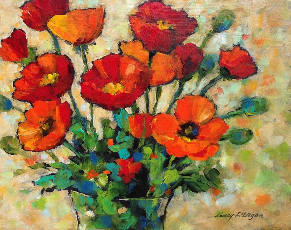 """Pow Poppies"" original fine art by Nancy F. Morgan"