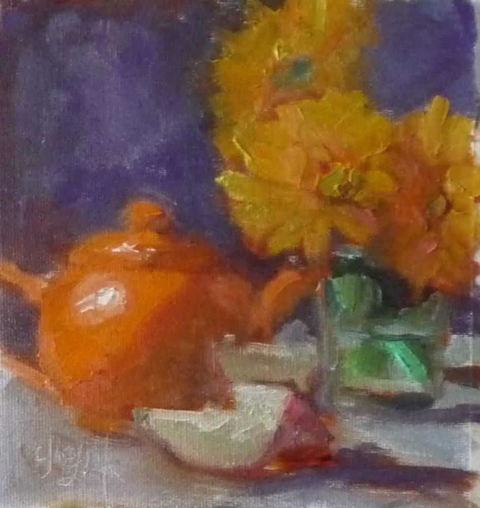 """Orange teapot with mums"" original fine art by Carol Josefiak"