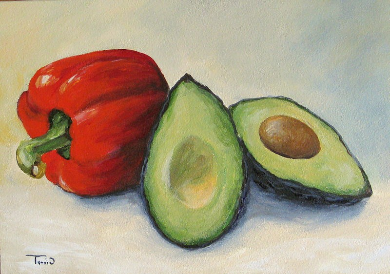 """Avocado with Bell Pepper"" original fine art by Torrie Smiley"