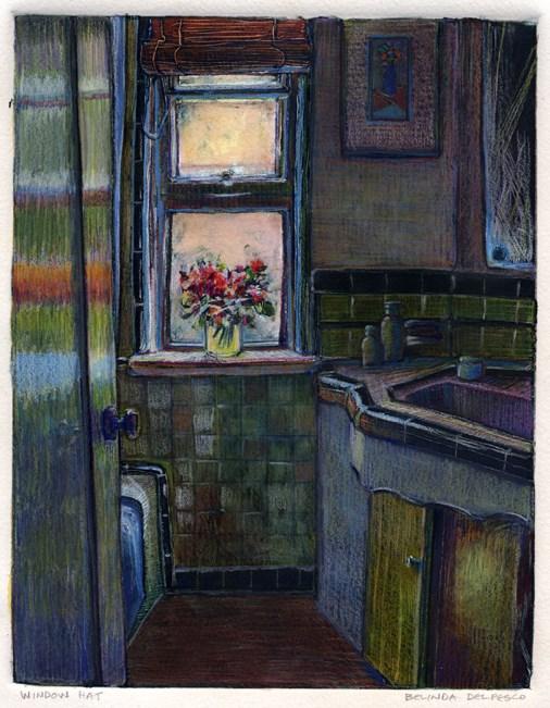 """Monotype: Window Hat"" original fine art by Belinda Del Pesco"