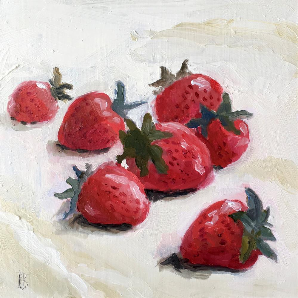 """054 Strawberries, Daily Painting Ritual, 6x6, free shipping"" original fine art by Fred Bell"