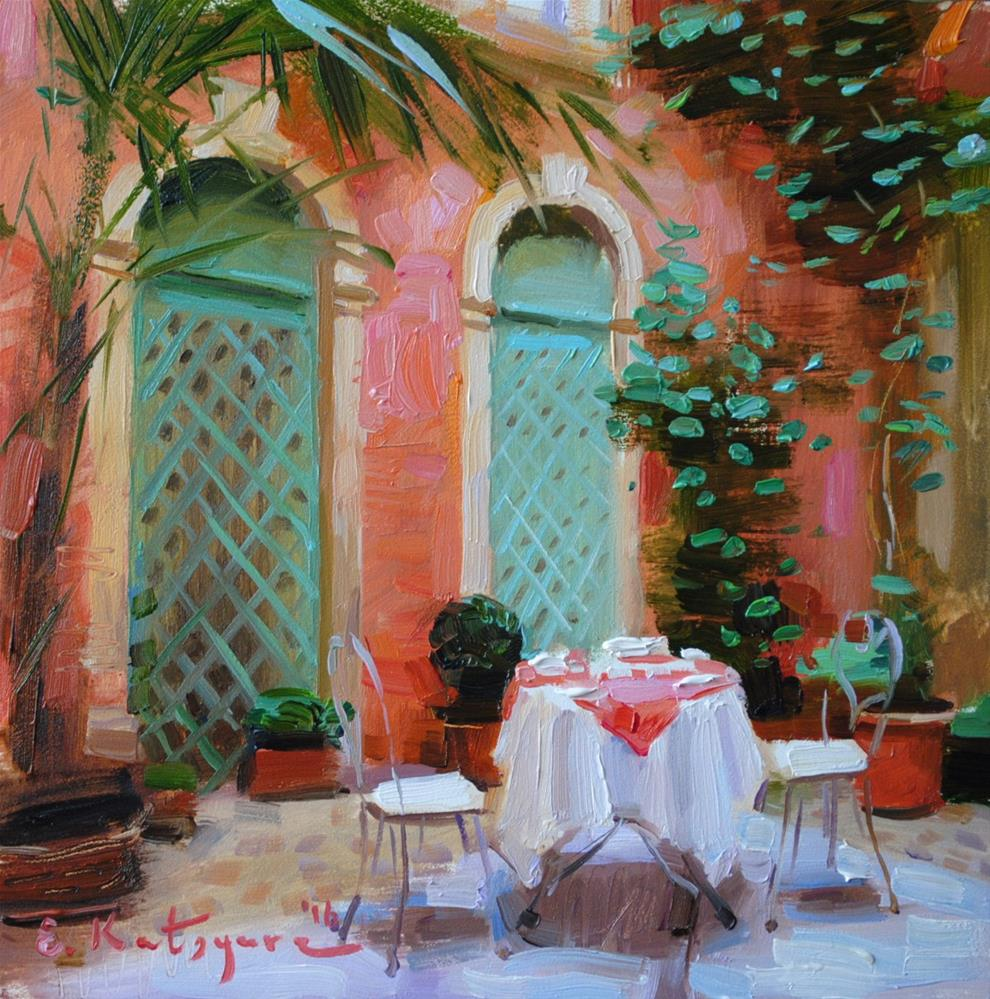 """The Courtyard of Arching Windows"" original fine art by Elena Katsyura"