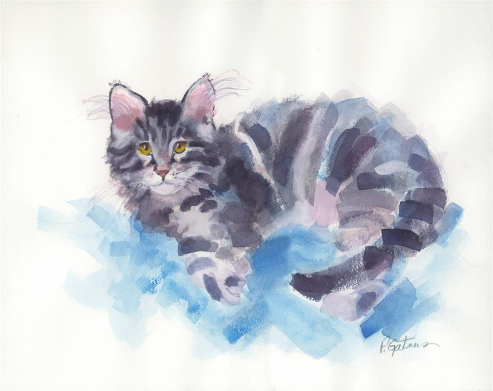 """Azure Purr"" original fine art by Pamela Gatens"