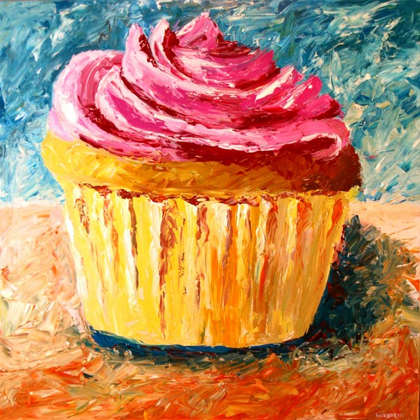 """Mark Webster - Giant Cupcake Painting - Acrylic Palette Knife Painting"" original fine art by Mark Webster"