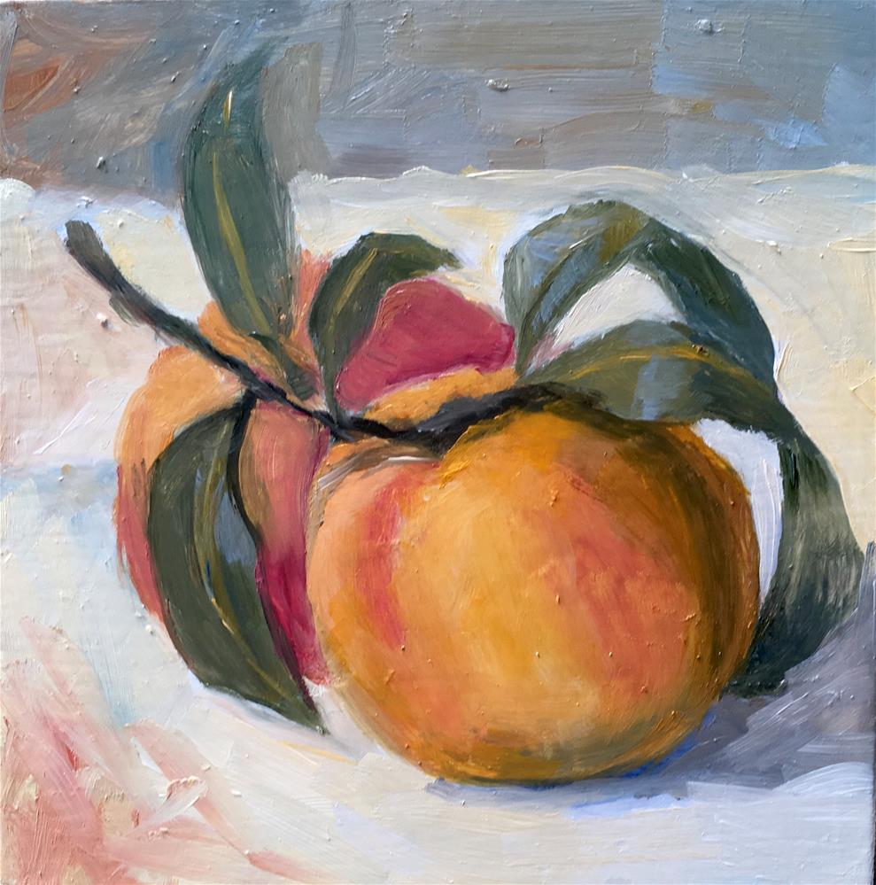 """069 Peaches Painting"" original fine art by Fred Bell"