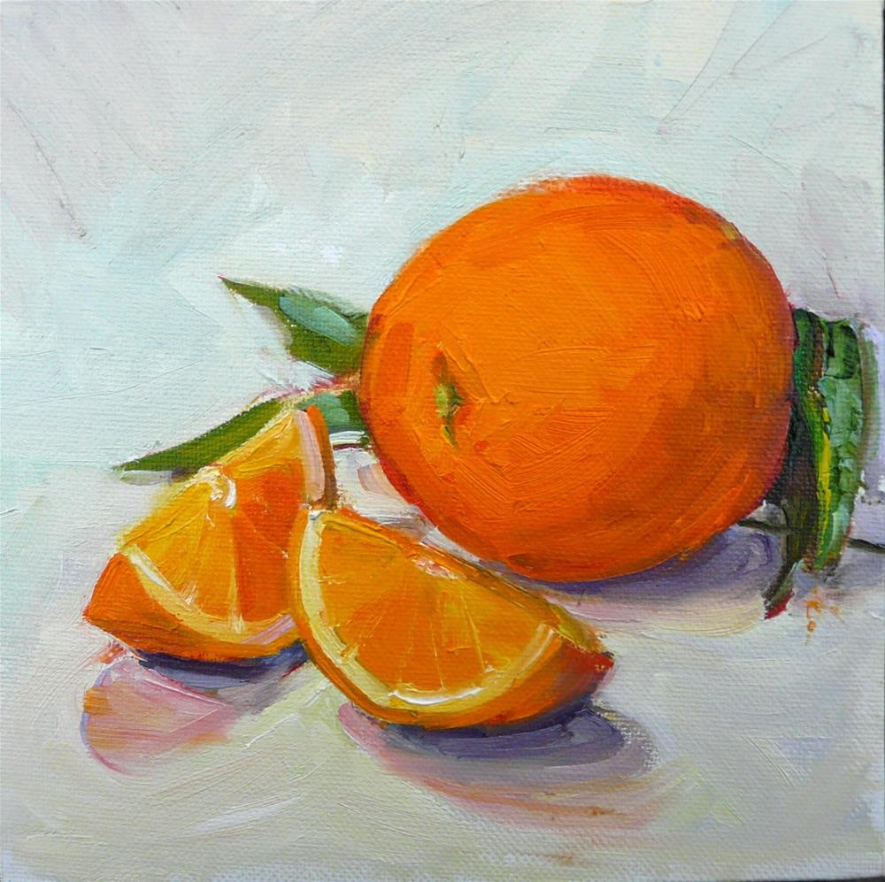 """Orange Slices,still life,oil on canvas,8x8,price$225"" original fine art by Joy Olney"