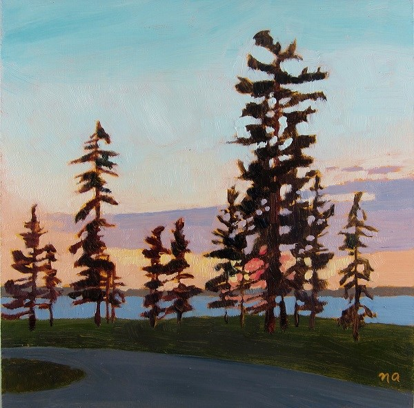 """Parking Lot Sunset, Waskesiu"" original fine art by Nicki Ault"