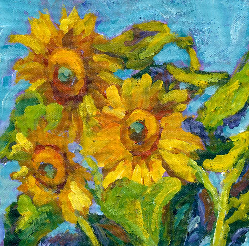 """the sunflowers challenge"" original fine art by Shelley Garries"