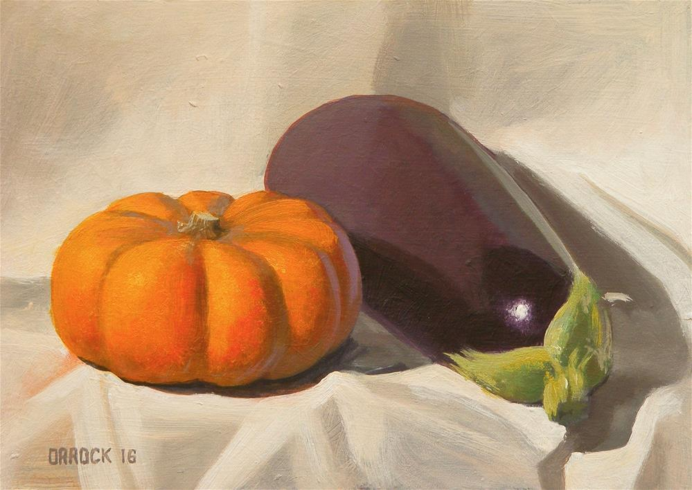 """Pumpkin and aubergine"" original fine art by Peter Orrock"