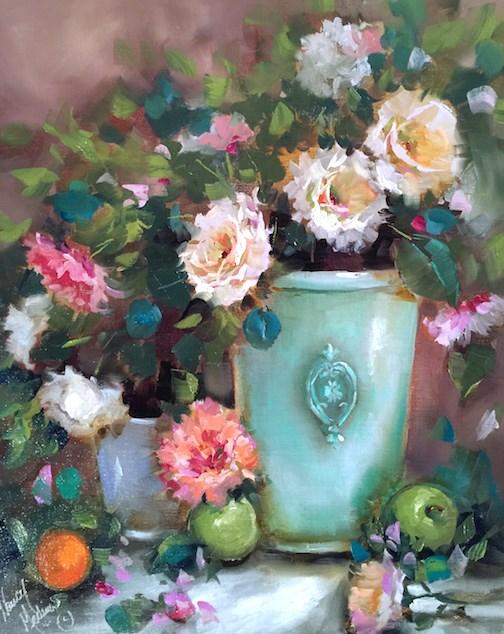 """Dahlias and Roses and a St Louis Workshop - Nancy Medina Art"" original fine art by Nancy Medina"