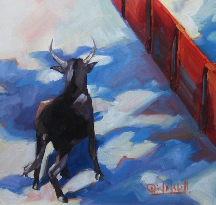 """No 535 Where did he Go!"" original fine art by Robin J Mitchell"