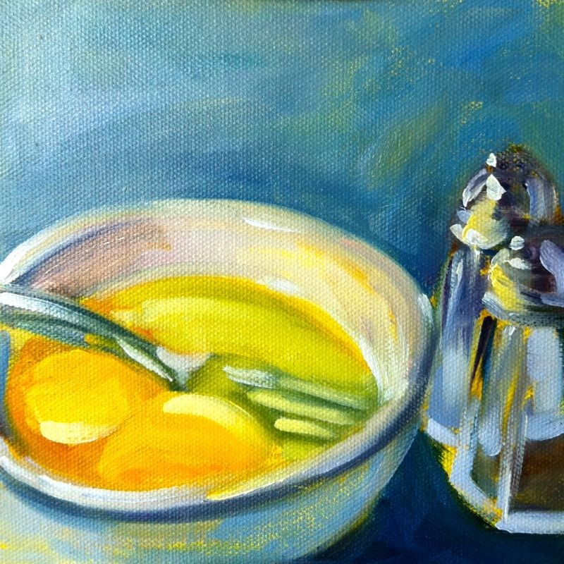 """Eggs and Shakers, oil on board, 6x6"" original fine art by Darlene Young"