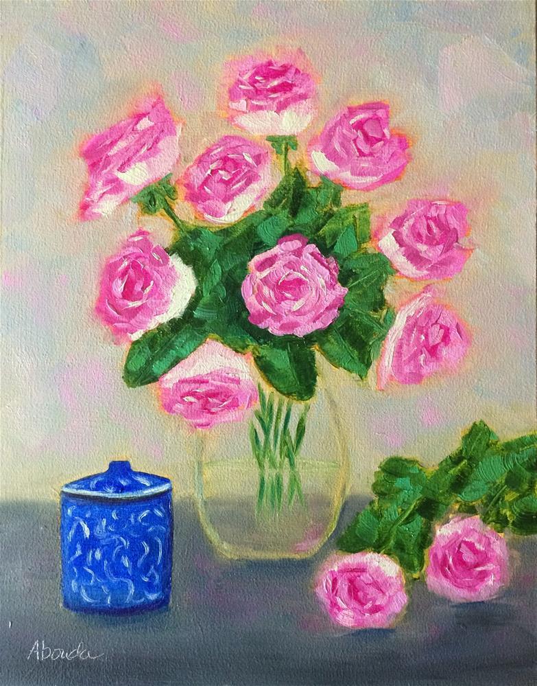 """Pink Roses"" original fine art by Sandy Abouda"