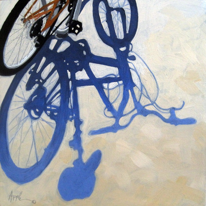 """Bicycle Blues original oil painting"" original fine art by Linda Apple"
