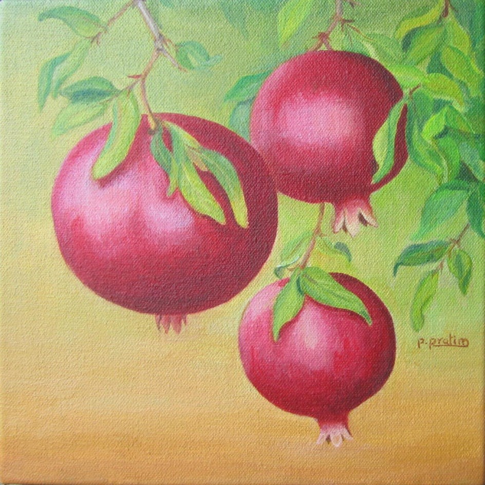 """Pomegranates"" original fine art by Pratima Patel"