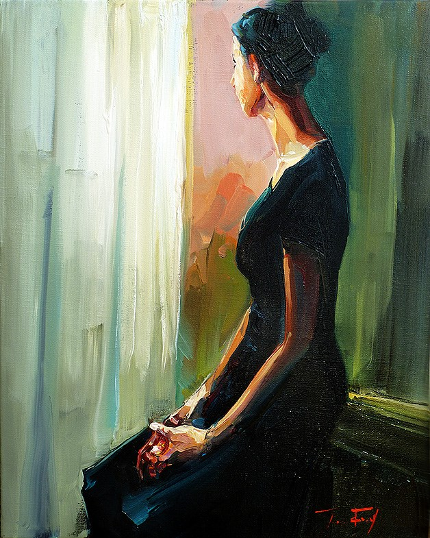 """seated at the window"" original fine art by Jurij Frey"