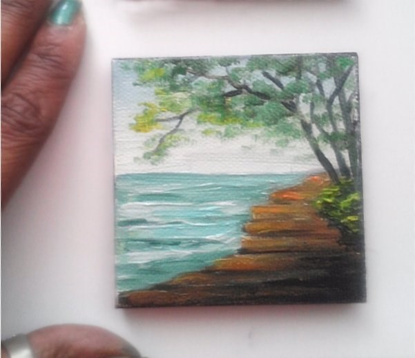 """Walkway by the Sea"" original fine art by Camille Morgan"