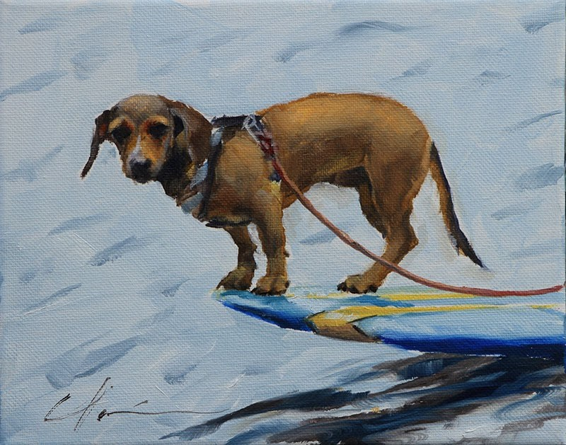 """Surf Doggie"" original fine art by Clair Hartmann"
