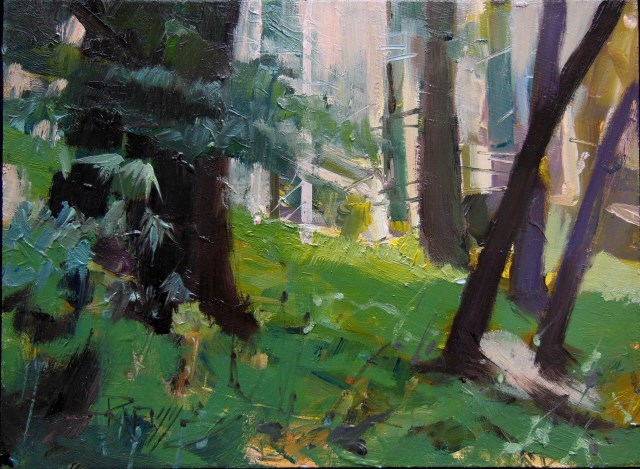 """Light Through the Forest Moran State Park, plein air , oil landscape painting by Robin Weiss"" original fine art by Robin Weiss"