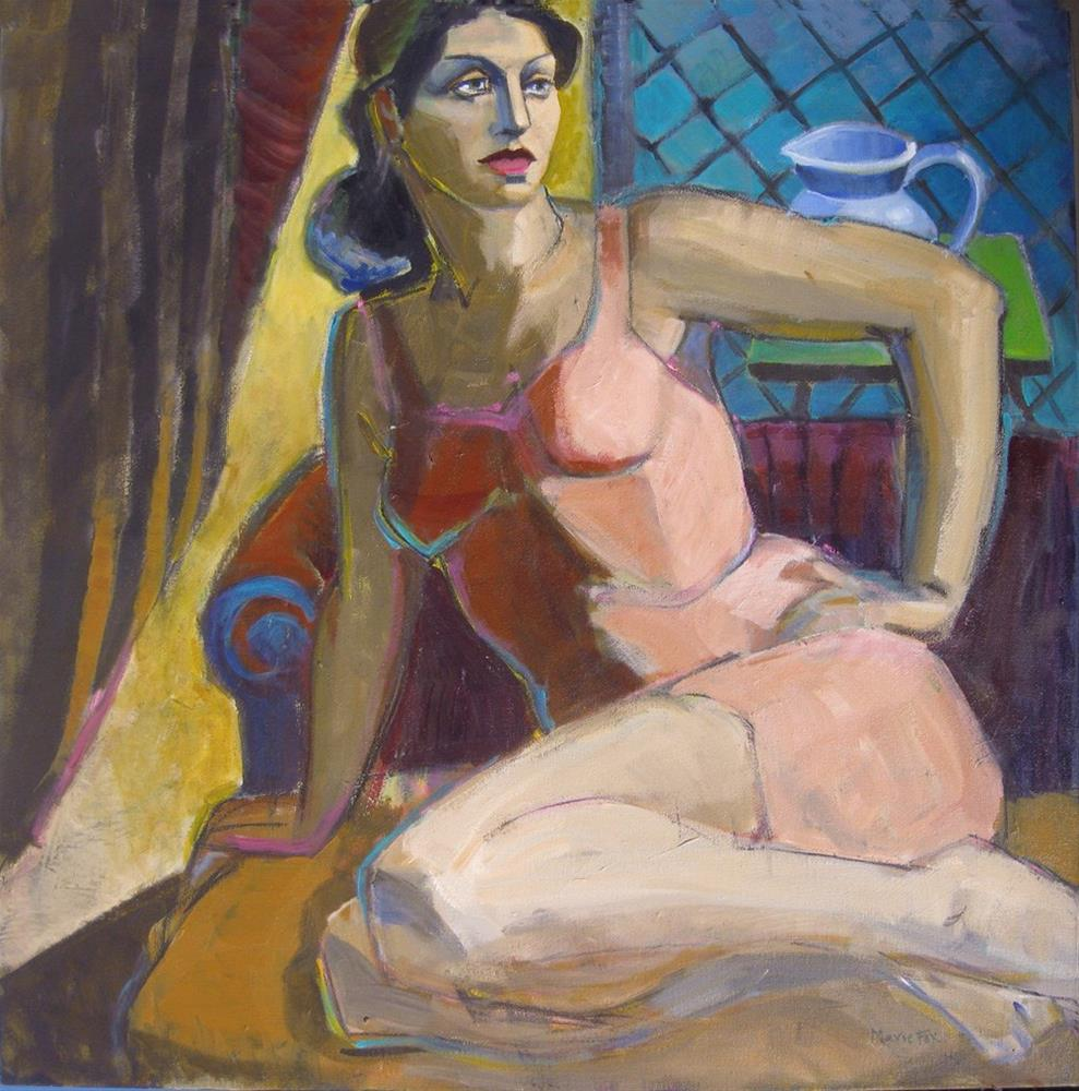 """Waiting, contemporary figurative painting of woman, figure study, female figuration, painter of wome"" original fine art by Marie Fox"