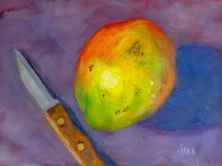 """Mango, 6x8 Oil on Canvas Board"" original fine art by Carmen Beecher"