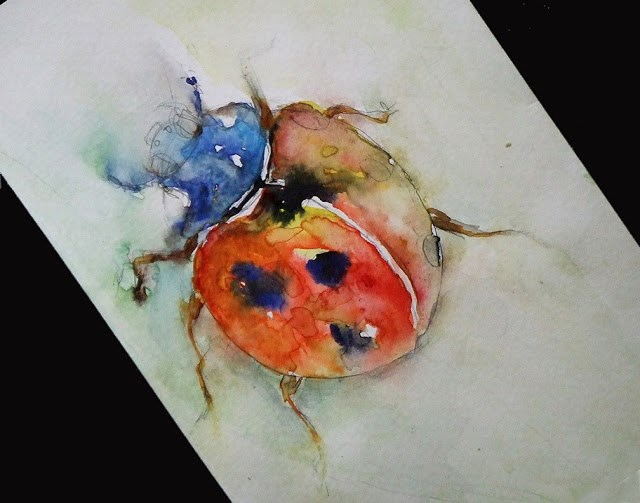 """Study of Kavacs Anna Brigitta's Ladybug"" original fine art by Mitsuru Cope"