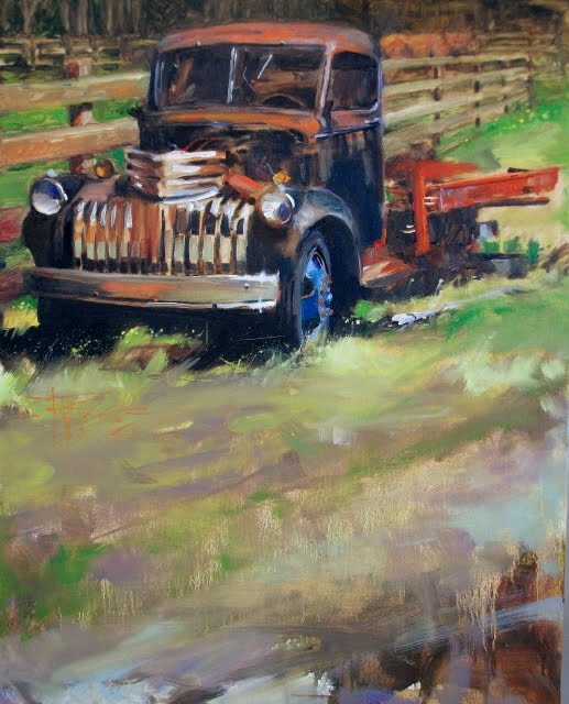 """""""Flatbed Blues   old truck, oil landscape painting"""" original fine art by Robin Weiss"""