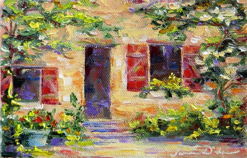 """Red Shutters"" original fine art by Tammie Dickerson"