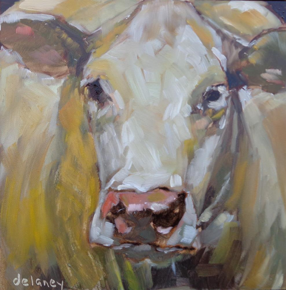"""Cow 85 LARGER THAN LIFE"" original fine art by Jean Delaney"