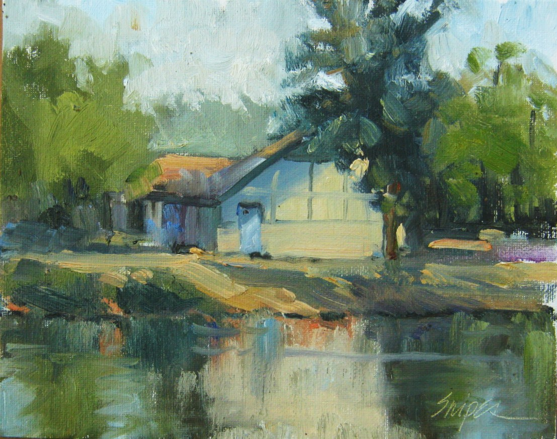 """Across the Lake, Butler Park, Charlotte, NC"" original fine art by Connie Snipes"