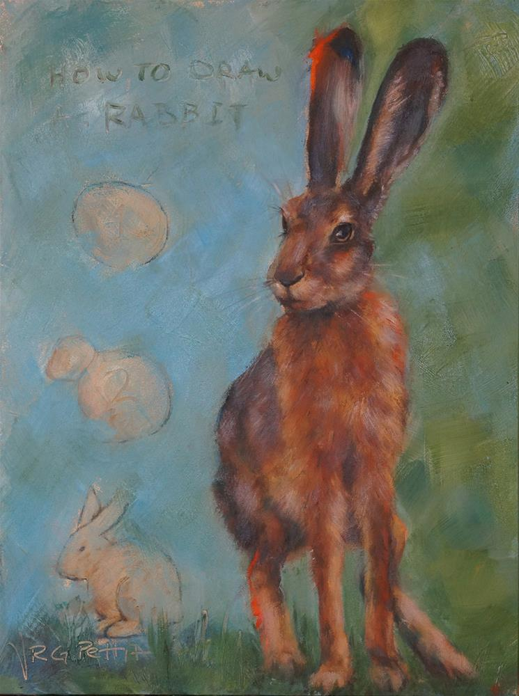 """How to Draw a Rabbit"" original fine art by Rhea  Groepper Pettit"