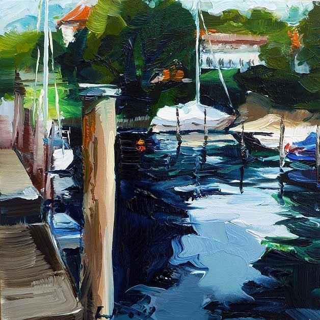 """""""Im Hafen von Überlingen"""" original fine art by Jurij Frey"""