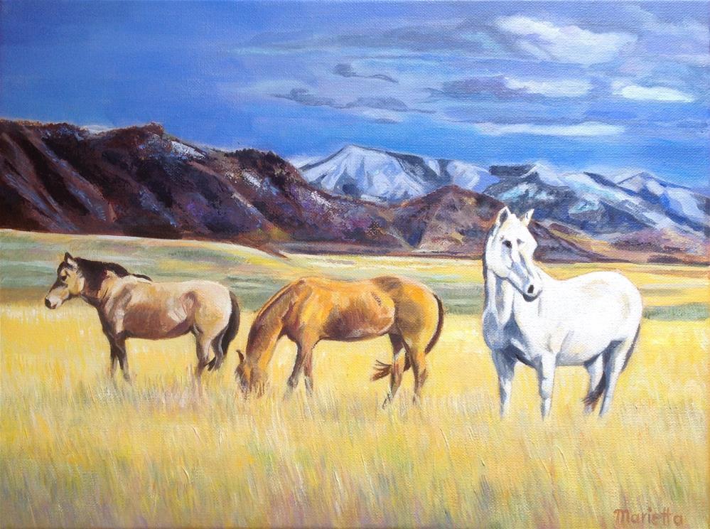 """ Montana Horses "" original fine art by Marietta Modl"