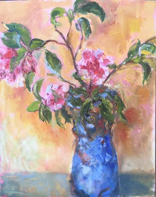 """Still Life with Camelias"" original fine art by Thea Lombaard"