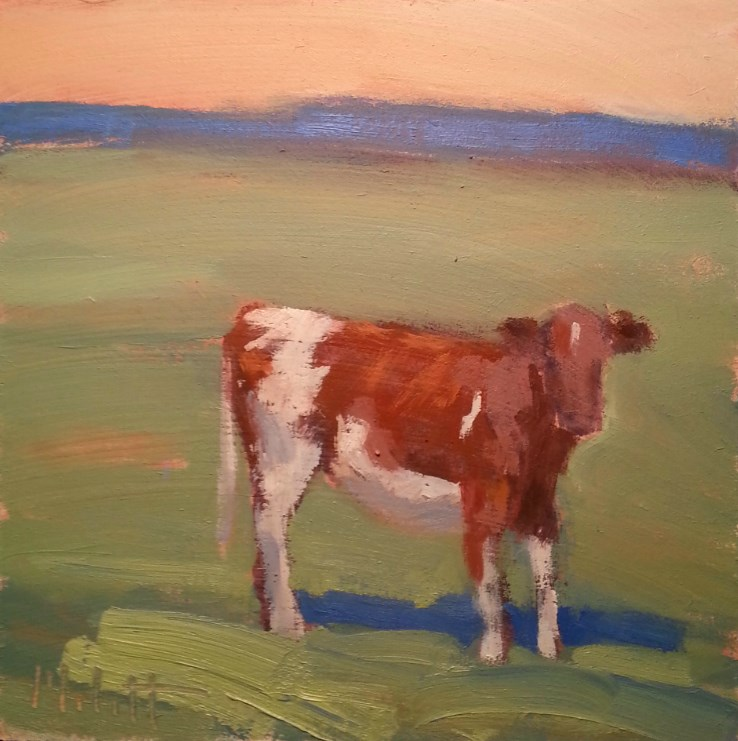 """What's Up Buttercup?  Cow Painting Contemporary Impressionism"" original fine art by Heidi Malott"