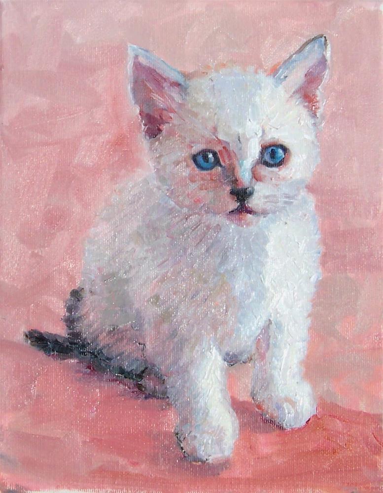 """Kitty,portrait,oil on canvas,10x8,price$400"" original fine art by Joy Olney"