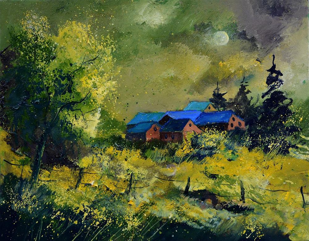 """Green houses"" original fine art by Pol Ledent"