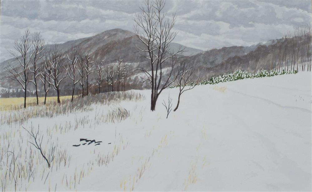 """Carter Mountain from a Snowy Field"" original fine art by Greg Arens"