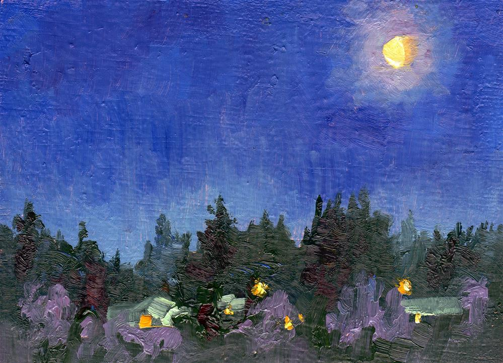 """MOONSET AT SUNRISE"" original fine art by Karen E Lewis"