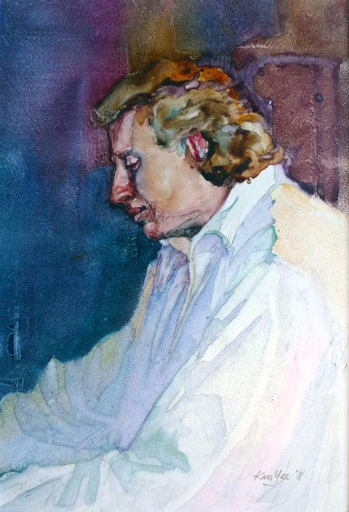 """Piers playing 'Chopin'"" original fine art by Myriam Kin-Yee"