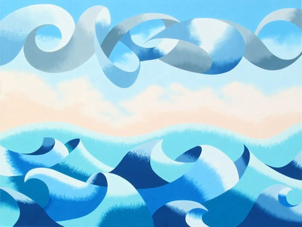 """Mark Webster - Abstract Ocean Seascape Oil Painting 30x40"" original fine art by Mark Webster"
