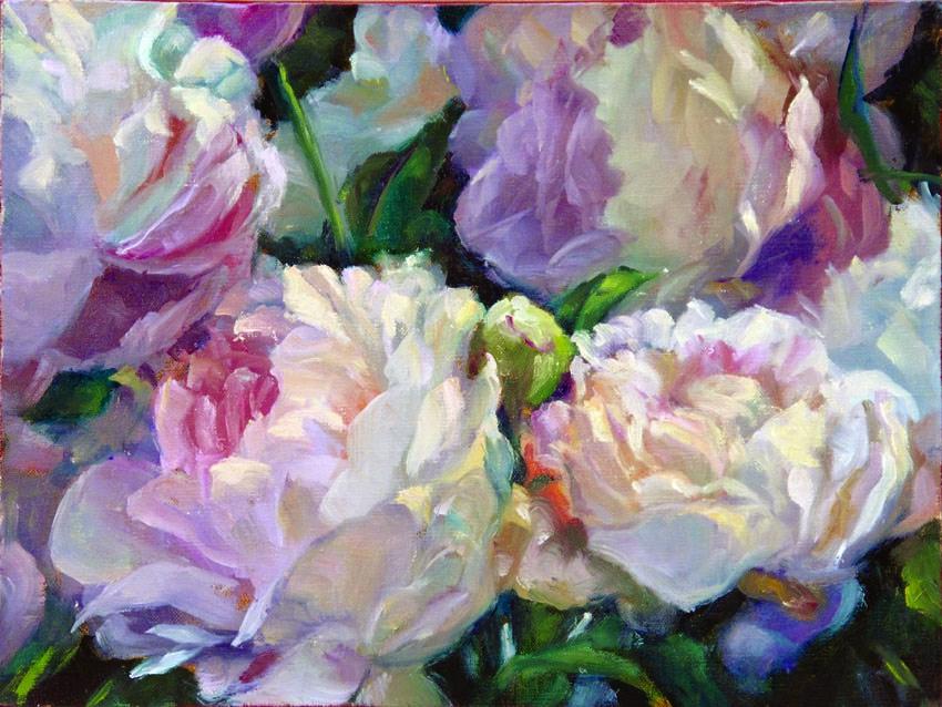 """""""Peonies - Gala opening"""" original fine art by Myriam Kin-Yee"""