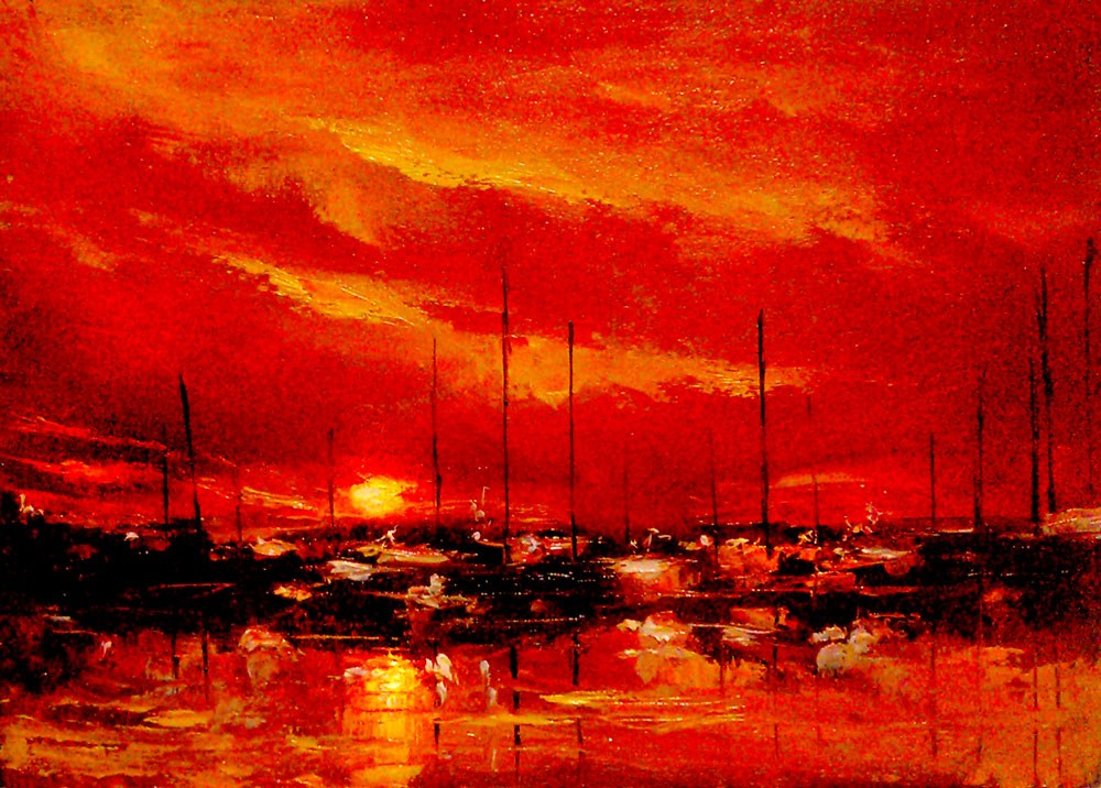 """Sunset at the Harbor"" original fine art by Bob Kimball"