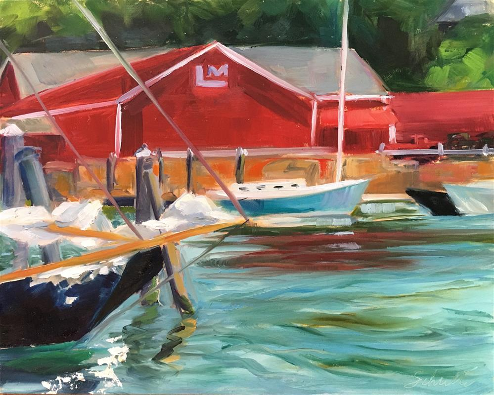 """Camden Harbor and Marina"" original fine art by Lynne Schulte"