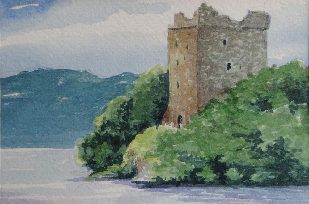 """Loch Ness Scotland Miniature Landscape Painting Watercolor"" original fine art by Alida Akers"
